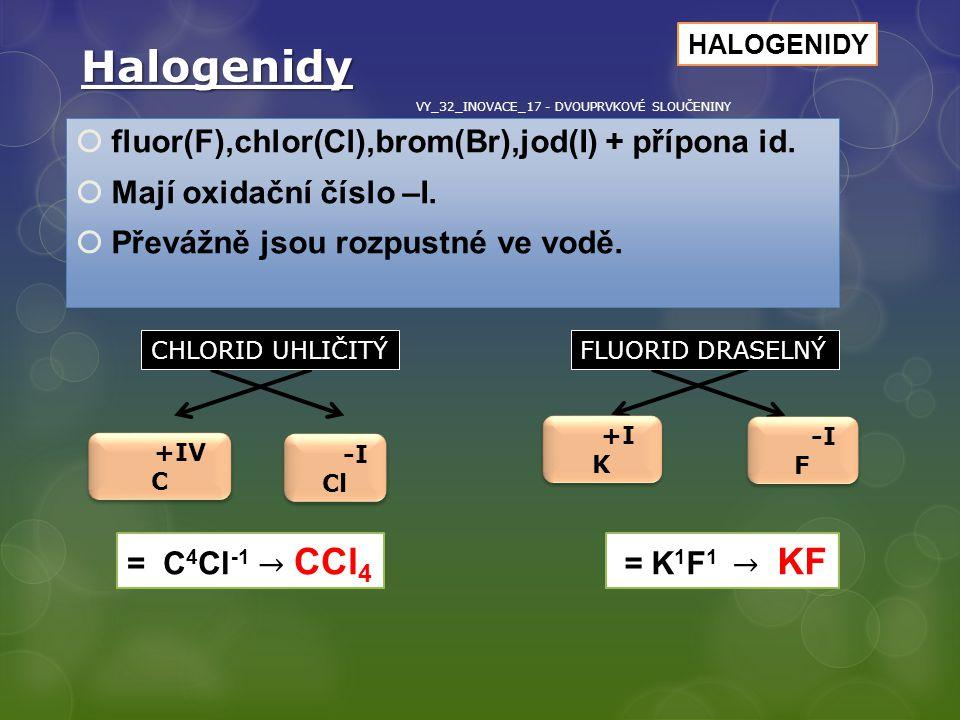 Halogenidy  fluor(F),chlor(Cl),brom(Br),jod(I) + přípona id.  Mají oxidační číslo –I.  Převážně jsou rozpustné ve vodě. +IV C +IV C -I Cl -I Cl +I