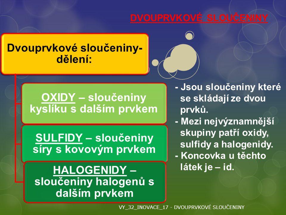 Dvouprvkové sloučeniny- dělení: OXIDY – sloučeniny kyslíku s dalším prvkem SULFIDY – sloučeniny síry s kovovým prvkem HALOGENIDY – sloučeniny halogenů