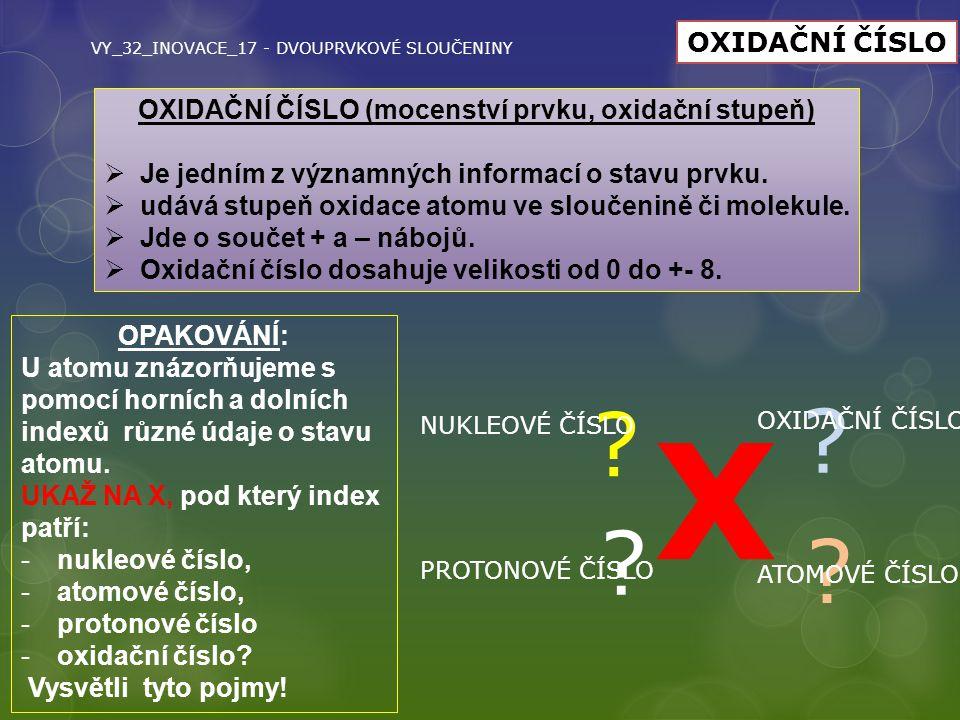 VY_32_INOVACE_17 - DVOUPRVKOVÉ SLOUČENINY OXIDAČNÍ ČÍSLO OXIDAČNÍ ČÍSLO (mocenství prvku, oxidační stupeň)  Je jedním z významných informací o stavu