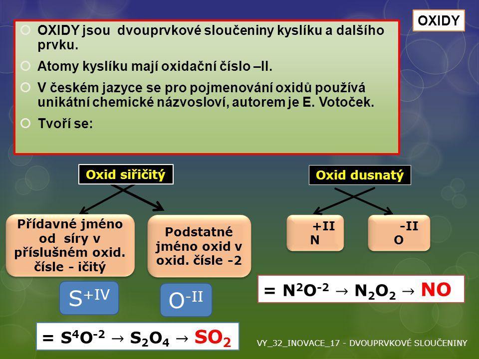 Oxidy  OXIDY jsou dvouprvkové sloučeniny kyslíku a dalšího prvku.  Atomy kyslíku mají oxidační číslo –II.  V českém jazyce se pro pojmenování oxidů