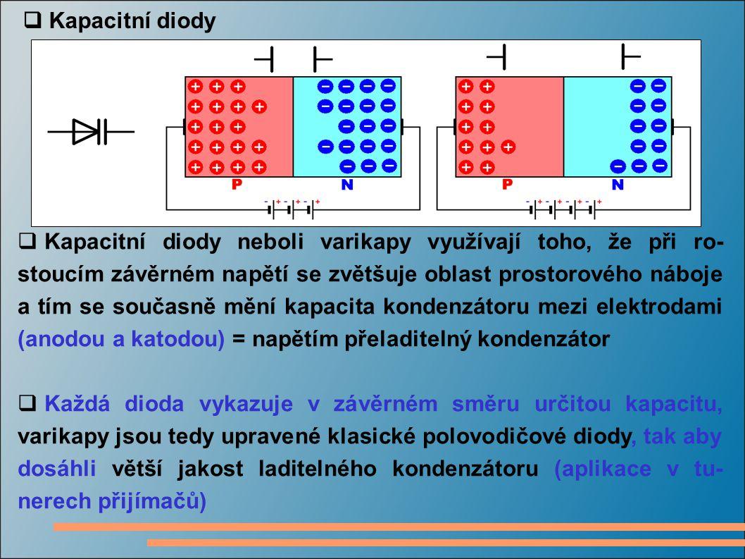  Kapacitní diody  Kapacitní diody neboli varikapy využívají toho, že při ro- stoucím závěrném napětí se zvětšuje oblast prostorového náboje a tím se