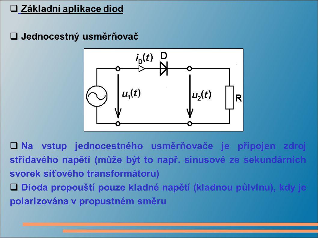  Základní aplikace diod  Jednocestný usměrňovač  Na vstup jednocestného usměrňovače je připojen zdroj střídavého napětí (může být to např. sinusové