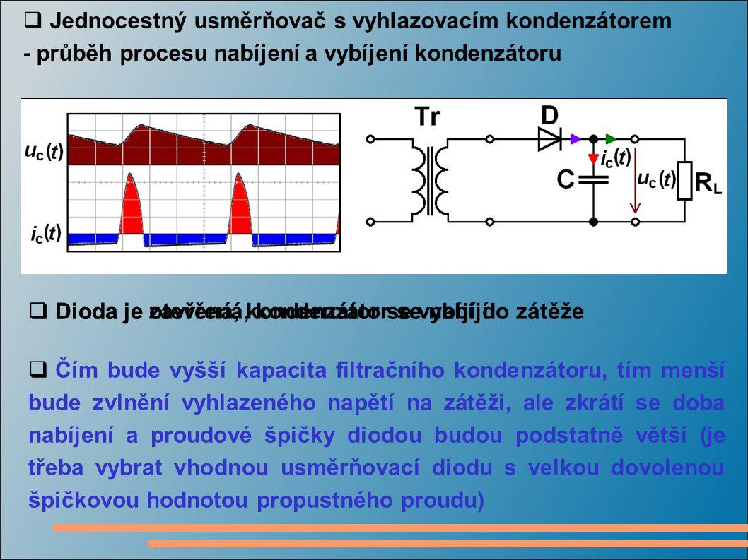 - průběh procesu nabíjení a vybíjení kondenzátoru  Dioda je zavřená, kondenzátor se vybíjí do zátěže  Dioda je otevřená, kondenzátor se nabíjí  Čím