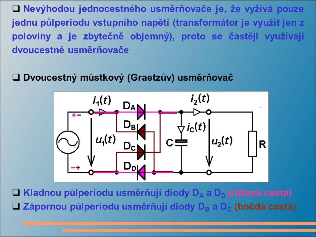  Nevýhodou jednocestného usměrňovače je, že vyžívá pouze jednu půlperiodu vstupního napětí (transformátor je využit jen z poloviny a je zbytečně obje