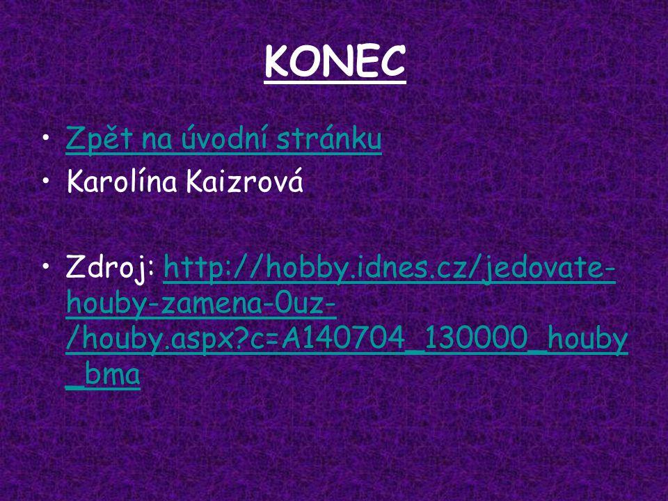 KONEC Zpět na úvodní stránku Karolína Kaizrová Zdroj: http://hobby.idnes.cz/jedovate- houby-zamena-0uz- /houby.aspx?c=A140704_130000_houby _bmahttp://