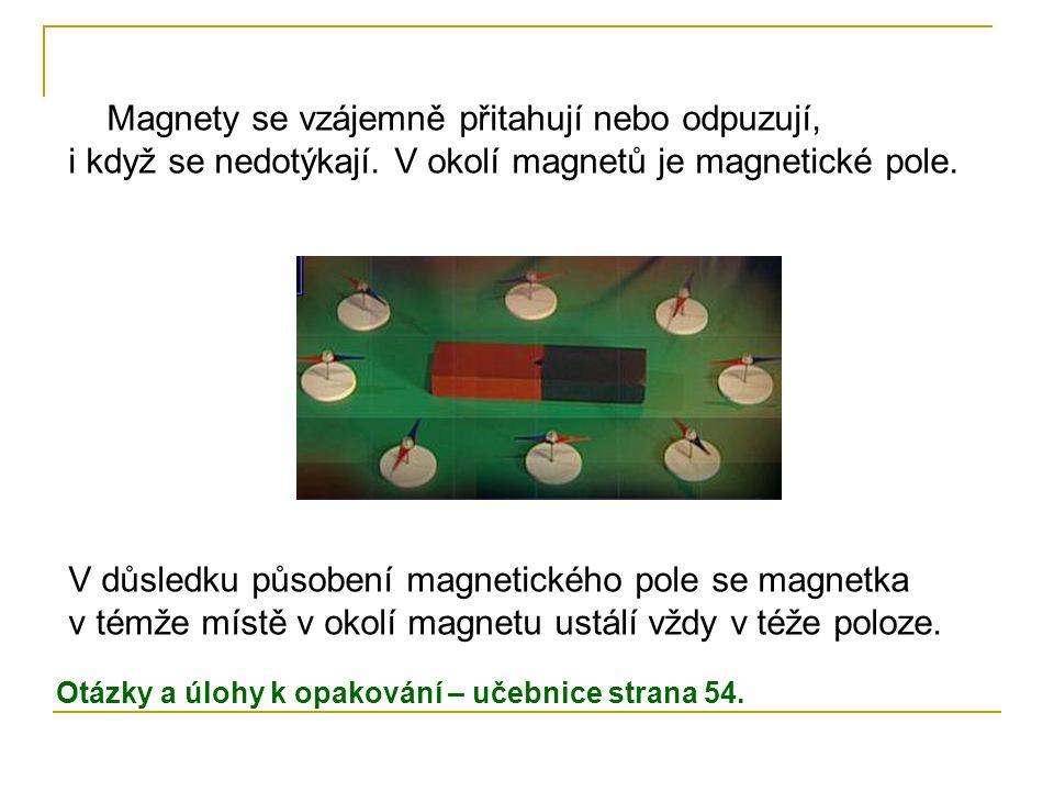 V důsledku působení magnetického pole se magnetka v témže místě v okolí magnetu ustálí vždy v téže poloze. Magnety se vzájemně přitahují nebo odpuzují
