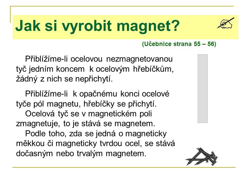 (Učebnice strana 55 – 56) Jak si vyrobit magnet? Přiblížíme-li ocelovou nezmagnetovanou tyč jedním koncem k ocelovým hřebíčkům, žádný z nich se nepřic
