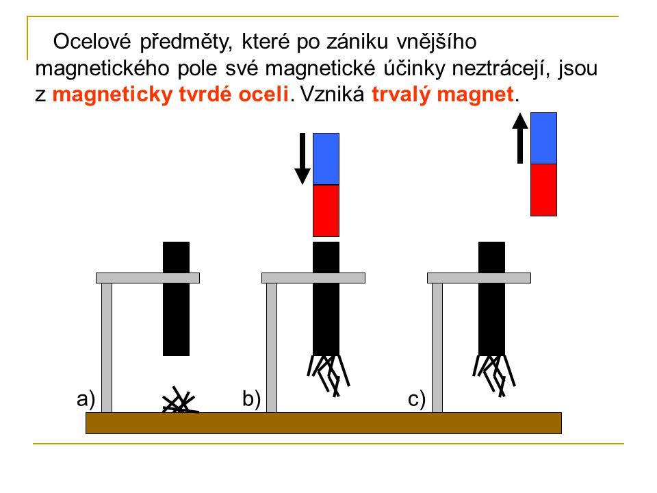 Ocelové předměty, které po zániku vnějšího magnetického pole své magnetické účinky neztrácejí, jsou z magneticky tvrdé oceli. Vzniká trvalý magnet. a)
