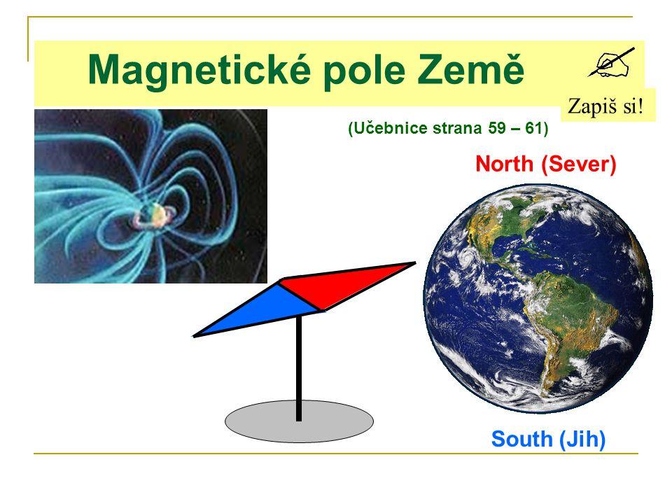 Magnetické pole Země Zapiš si! North (Sever) South (Jih) (Učebnice strana 59 – 61)