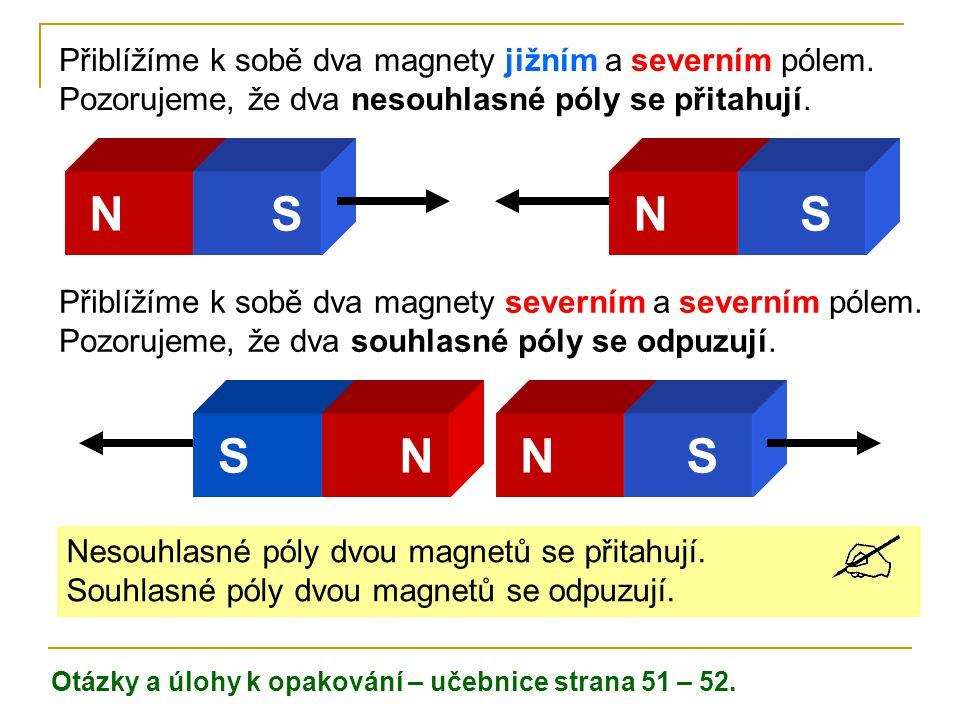 NSNS Přiblížíme k sobě dva magnety jižním a severním pólem. Pozorujeme, že dva nesouhlasné póly se přitahují. SNNS Přiblížíme k sobě dva magnety sever