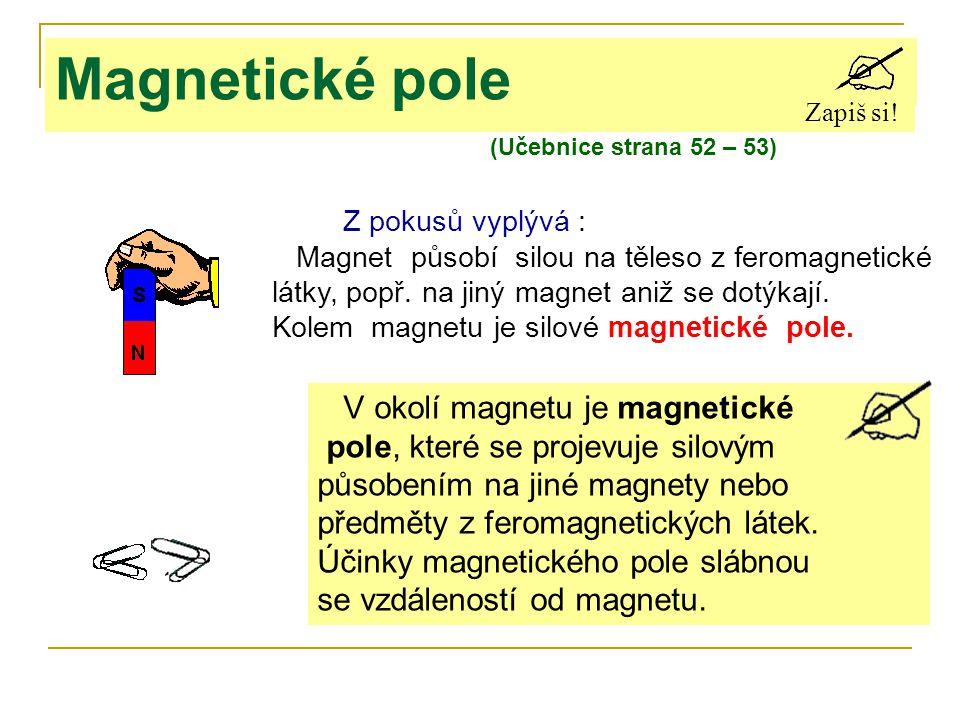 Z pokusů vyplývá : Magnet působí silou na těleso z feromagnetické látky, popř. na jiný magnet aniž se dotýkají. Kolem magnetu je silové magnetické pol