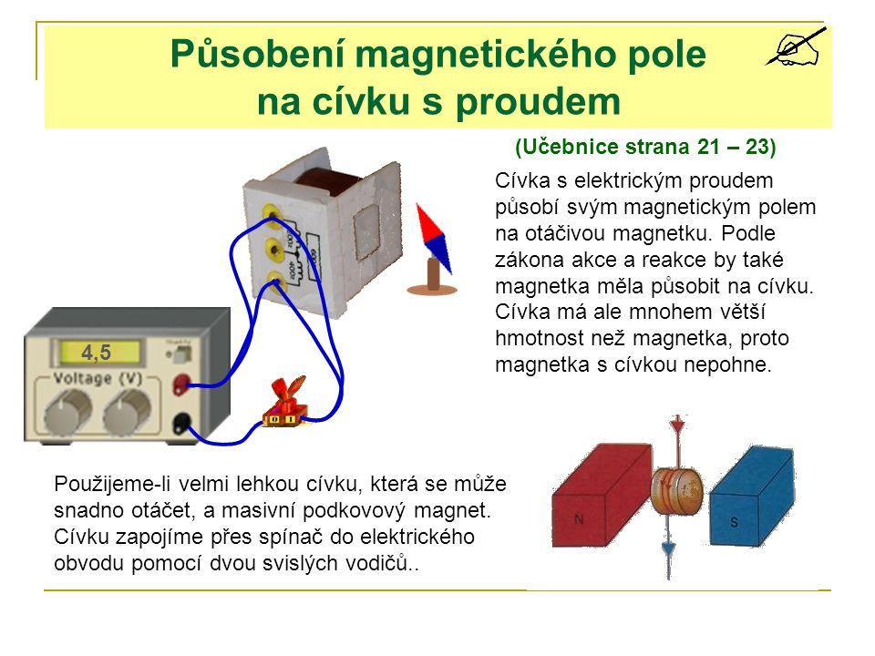 N S Pokud cívkou neprochází proud, cívka se uvnitř magnetu volně pohybuje.