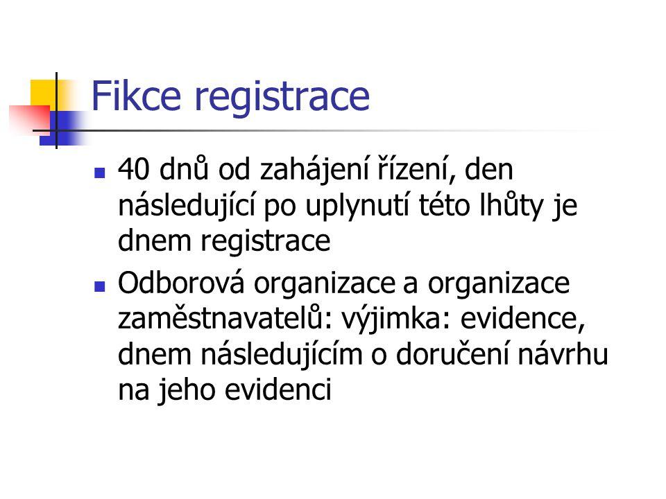 Fikce registrace 40 dnů od zahájení řízení, den následující po uplynutí této lhůty je dnem registrace Odborová organizace a organizace zaměstnavatelů: