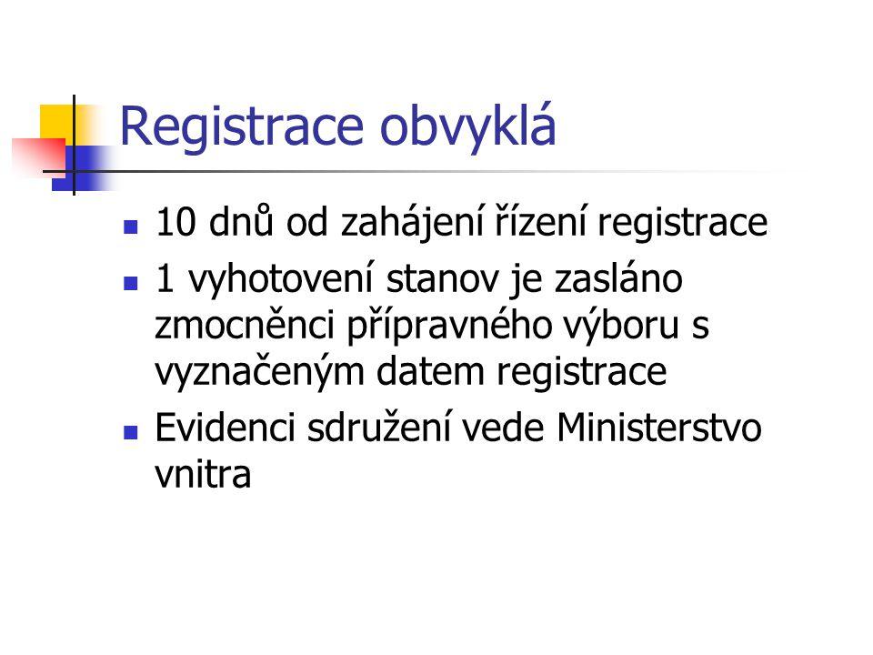 Registrace obvyklá 10 dnů od zahájení řízení registrace 1 vyhotovení stanov je zasláno zmocněnci přípravného výboru s vyznačeným datem registrace Evid