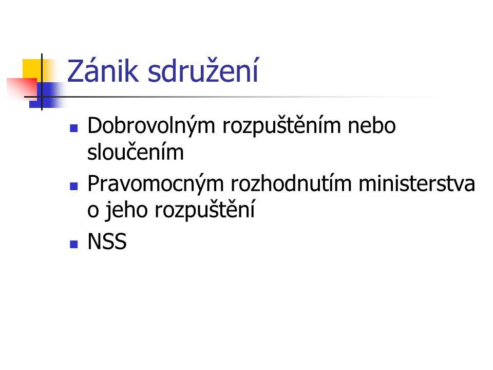 Zánik sdružení Dobrovolným rozpuštěním nebo sloučením Pravomocným rozhodnutím ministerstva o jeho rozpuštění NSS