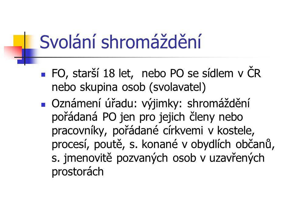Svolání shromáždění FO, starší 18 let, nebo PO se sídlem v ČR nebo skupina osob (svolavatel) Oznámení úřadu: výjimky: shromáždění pořádaná PO jen pro