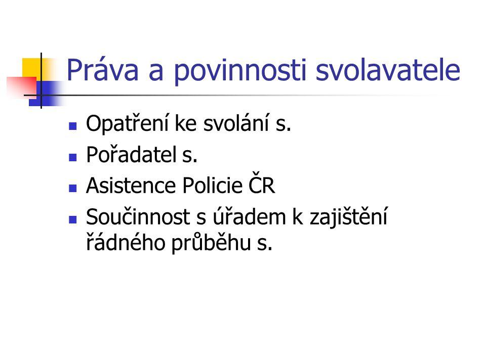 Práva a povinnosti svolavatele Opatření ke svolání s. Pořadatel s. Asistence Policie ČR Součinnost s úřadem k zajištění řádného průběhu s.