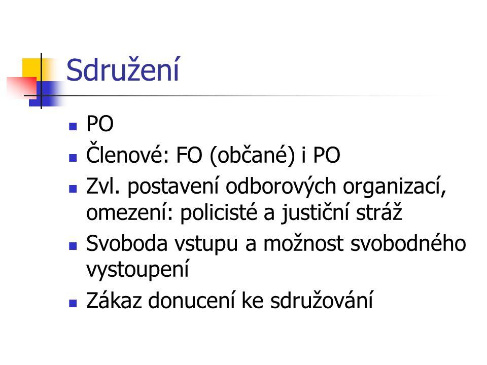 Sdružení PO Členové: FO (občané) i PO Zvl. postavení odborových organizací, omezení: policisté a justiční stráž Svoboda vstupu a možnost svobodného vy