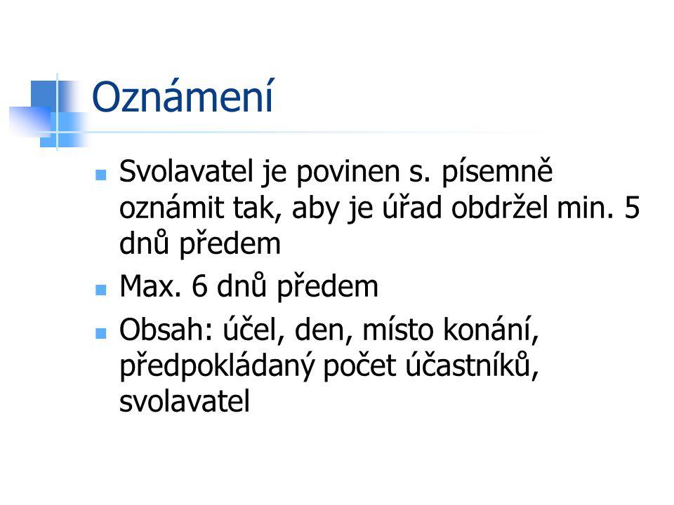 Oznámení Svolavatel je povinen s. písemně oznámit tak, aby je úřad obdržel min.