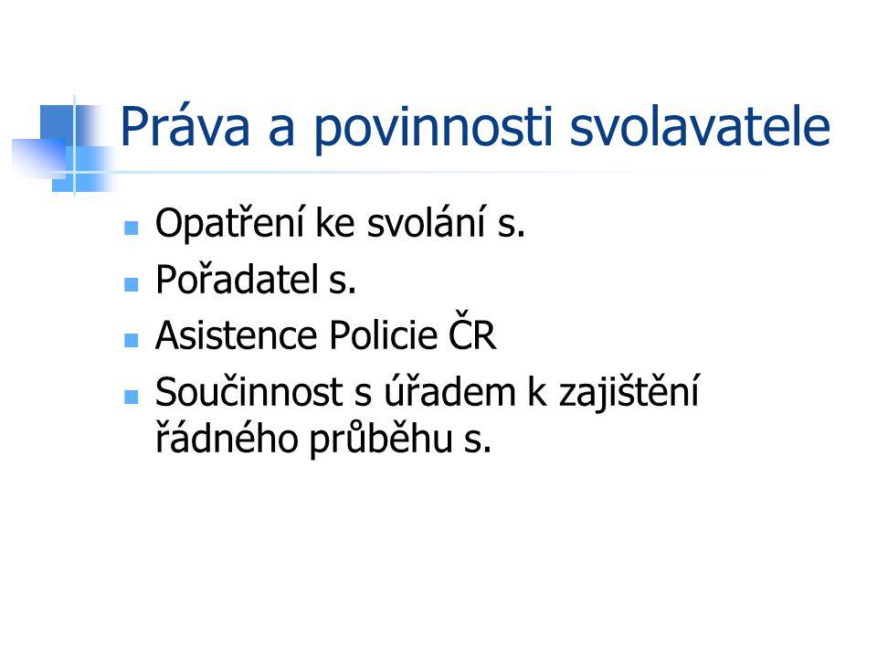 Práva a povinnosti svolavatele Opatření ke svolání s.