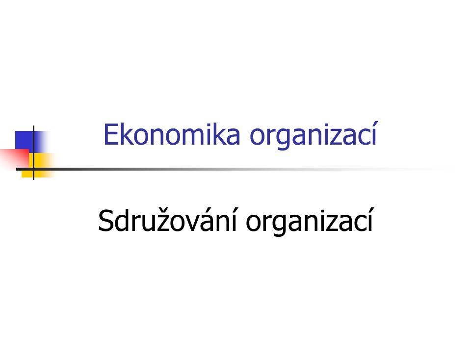 Cíle sdružování organizací Druhy sdružování organizací Formy sdružování organizací Konsorcium Kartel Zájmové sdružení Koncern Trust Joint Venture Franchising