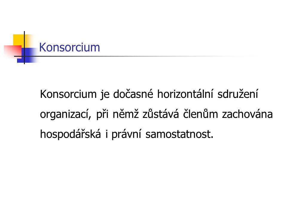 Konsorcium Konsorcium je dočasné horizontální sdružení organizací, při němž zůstává členům zachována hospodářská i právní samostatnost.