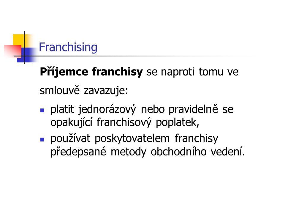 Franchising Příjemce franchisy se naproti tomu ve smlouvě zavazuje: platit jednorázový nebo pravidelně se opakující franchisový poplatek, používat pos