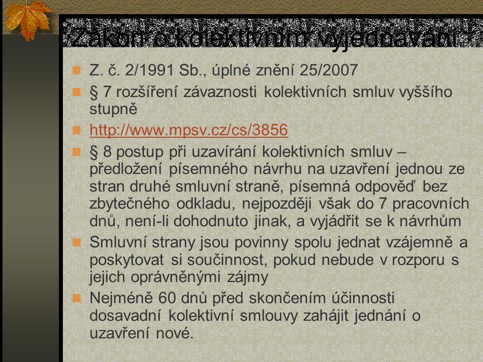 Zákon o kolektivním vyjednávání Z. č. 2/1991 Sb., úplné znění 25/2007 § 7 rozšíření závaznosti kolektivních smluv vyššího stupně http://www.mpsv.cz/cs