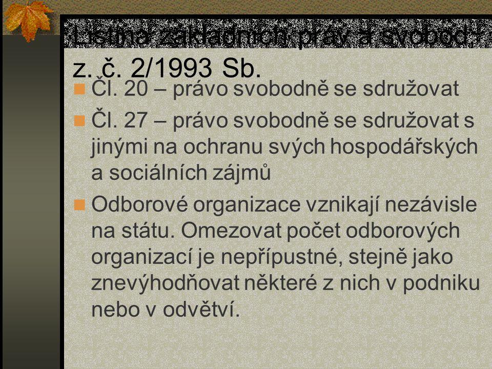 Listina základních práv a svobod, z. č. 2/1993 Sb. Čl. 20 – právo svobodně se sdružovat Čl. 27 – právo svobodně se sdružovat s jinými na ochranu svých