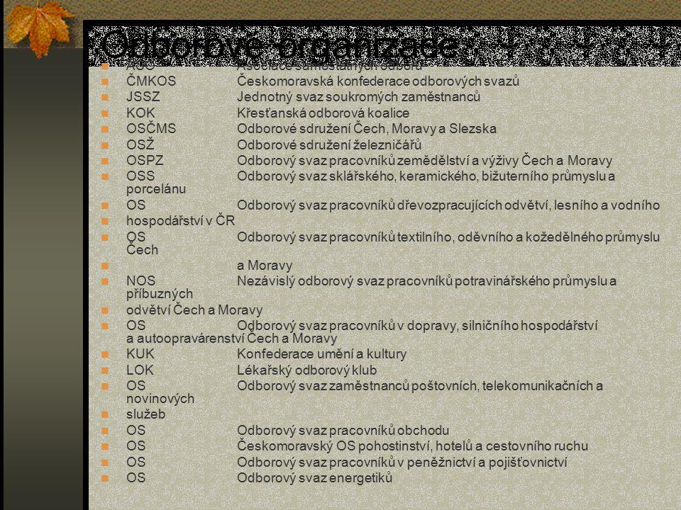Odborové organizace ASOAsociace samostatných odborů ČMKOSČeskomoravská konfederace odborových svazů JSSZJednotný svaz soukromých zaměstnanců KOKKřesťa