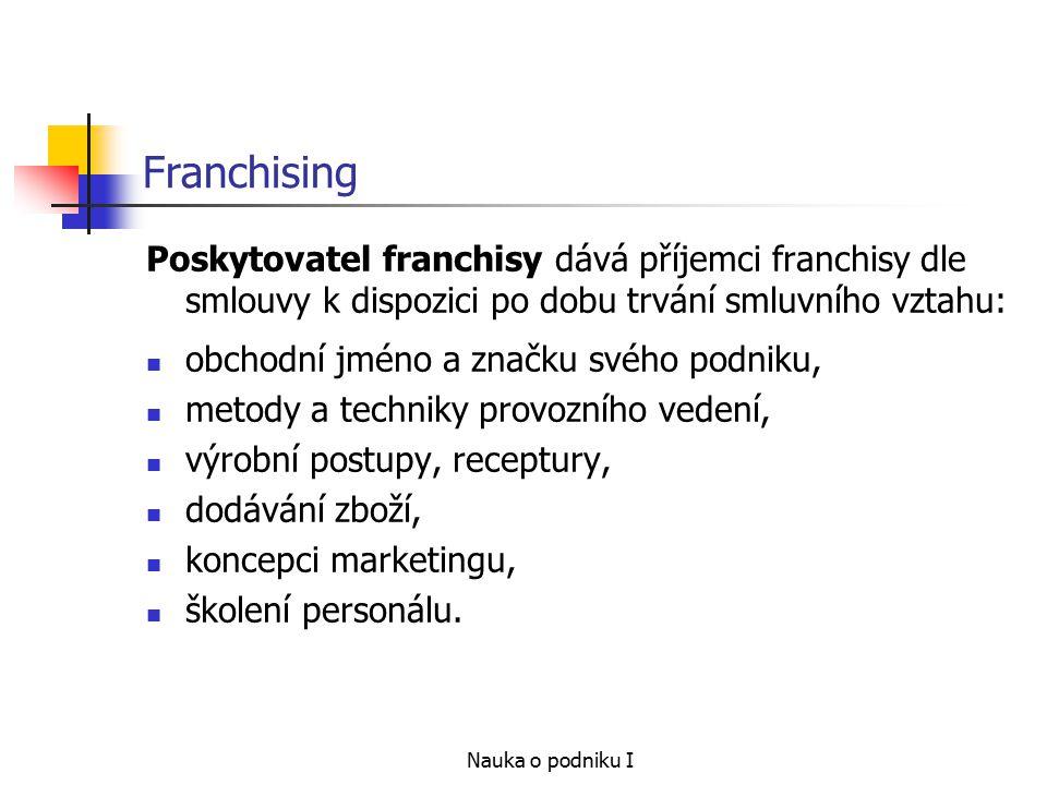 Nauka o podniku I Franchising Poskytovatel franchisy dává příjemci franchisy dle smlouvy k dispozici po dobu trvání smluvního vztahu: obchodní jméno a