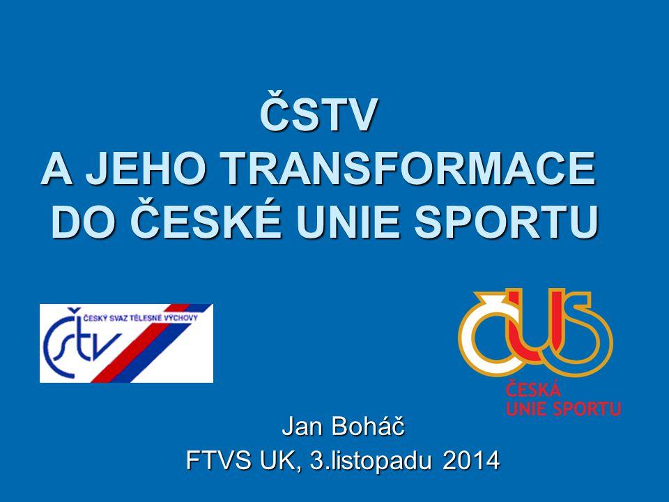 ČSTV A JEHO TRANSFORMACE DO ČESKÉ UNIE SPORTU Jan Boháč FTVS UK, 3.listopadu 2014