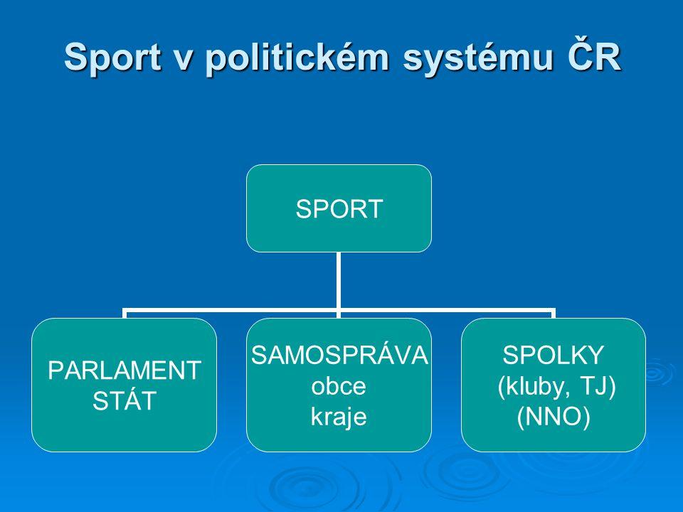 Sport v politickém systému ČR SPORT PARLAMENT STÁT SAMOSPRÁVA obce kraje SPOLKY (kluby, TJ) (NNO)