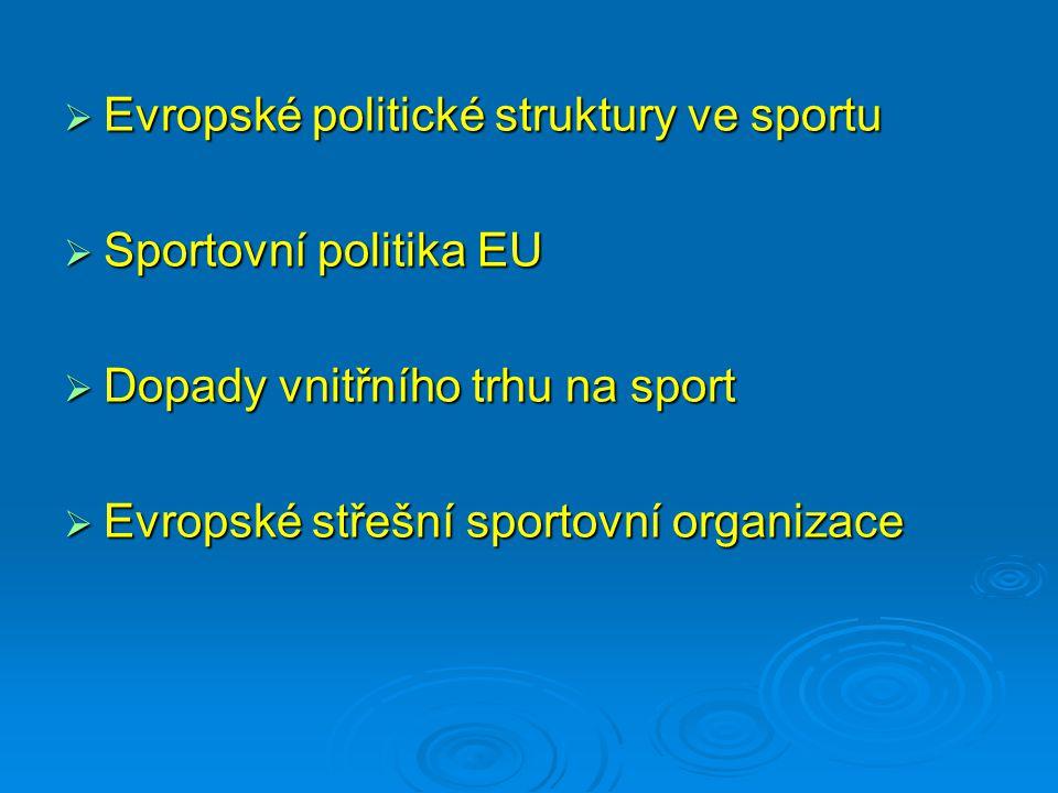  Evropské politické struktury ve sportu  Sportovní politika EU  Dopady vnitřního trhu na sport  Evropské střešní sportovní organizace