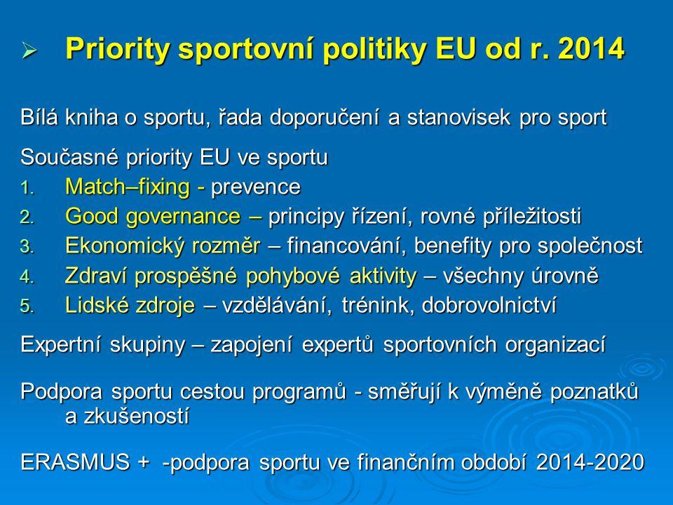  Priority sportovní politiky EU od r.