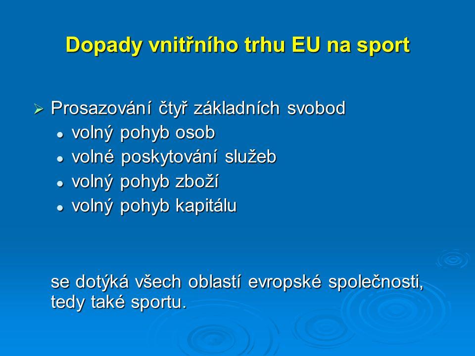 Dopady vnitřního trhu EU na sport  Prosazování čtyř základních svobod volný pohyb osob volný pohyb osob volné poskytování služeb volné poskytování služeb volný pohyb zboží volný pohyb zboží volný pohyb kapitálu volný pohyb kapitálu se dotýká všech oblastí evropské společnosti, tedy také sportu.