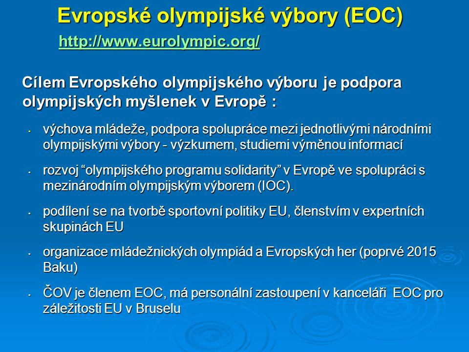  ENGSO (European Non-Governmental Sports Organisation) www.engso.eu www.engso.eu Věnuje se zastupování zájmů členů a spolupodílí se na tvorbě politiky EU v oblasti sportu působením v expertních poradních skupinách v rámci Rady Evropy i Evropské unieVěnuje se zastupování zájmů členů a spolupodílí se na tvorbě politiky EU v oblasti sportu působením v expertních poradních skupinách v rámci Rady Evropy i Evropské unie Reprezentuje nestátní sportovní sféru při jednáních na půdě evropských institucíReprezentuje nestátní sportovní sféru při jednáních na půdě evropských institucí Rozhodnutí činí představitelé nestátních sportovních zastřešujících organizací (NGO).Rozhodnutí činí představitelé nestátních sportovních zastřešujících organizací (NGO).