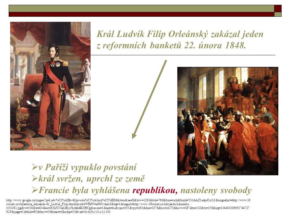 Král Ludvík Filip Orleánský zakázal jeden z reformních banketů 22.