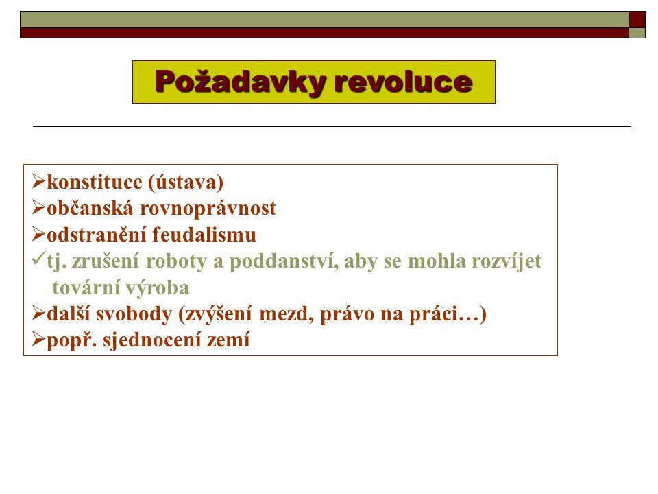 Požadavky revoluce  konstituce (ústava)  občanská rovnoprávnost  odstranění feudalismu tj.