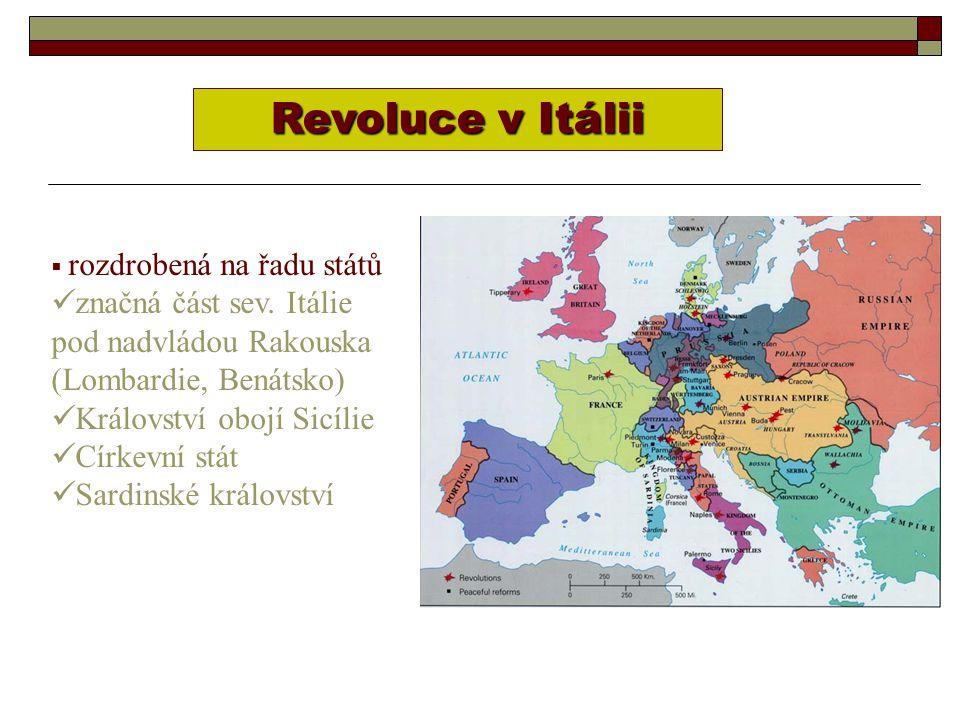 VÝSLEDEK:  revolucionáři poraženi  k sjednocení Itálie nedošlo CÍLEM: sjednocení země osvobození severní Itálie od rakouské nadvlády Bitva u CUSTOZZY červenec 1848 Sardinský král Carlo Alberto byl poražen od Rakušanů.