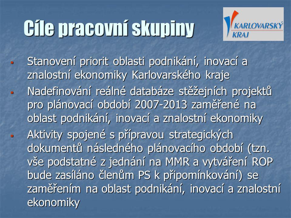 Cíle pracovní skupiny  Stanovení priorit oblasti podnikání, inovací a znalostní ekonomiky Karlovarského kraje  Nadefinování reálné databáze stěžejní