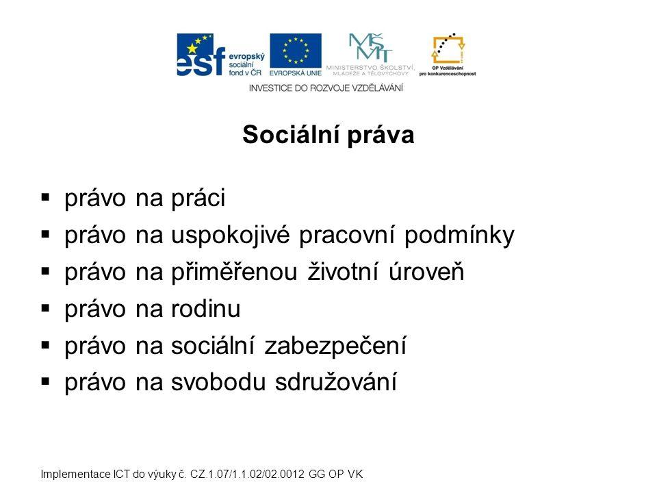 Sociální práva  právo na práci  právo na uspokojivé pracovní podmínky  právo na přiměřenou životní úroveň  právo na rodinu  právo na sociální zab