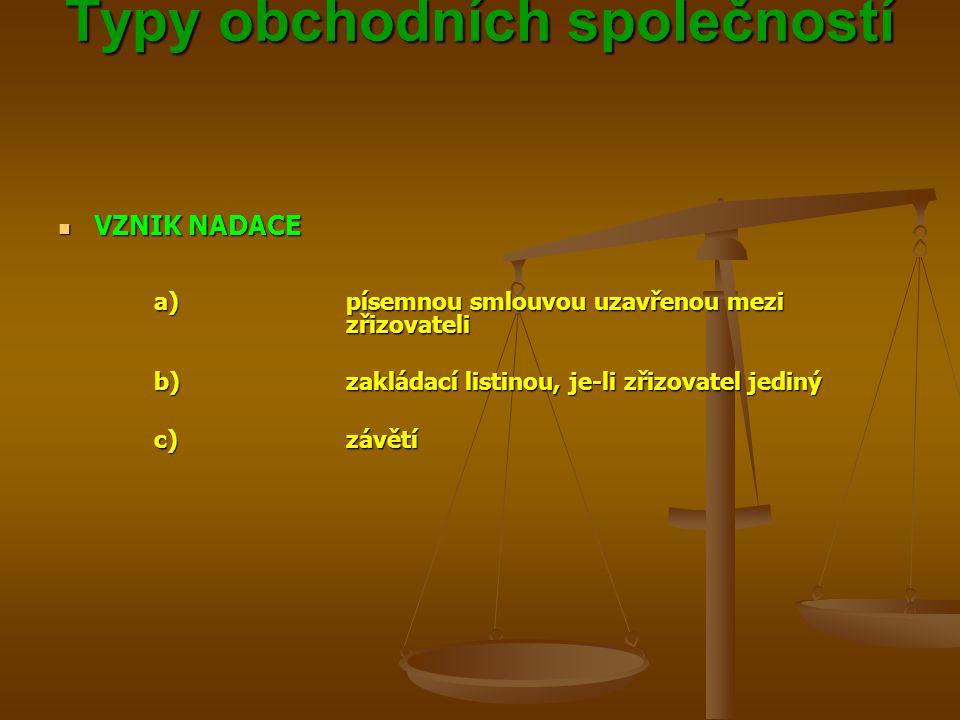 Typy obchodních společností Typy obchodních společností VZNIK NADACE VZNIK NADACE a)písemnou smlouvou uzavřenou mezi zřizovateli b)zakládací listinou, je-li zřizovatel jediný c)závětí