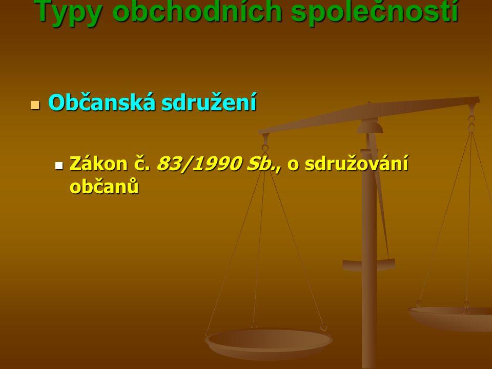 Typy obchodních společností Typy obchodních společností Občanská sdružení Občanská sdružení Zákon č.