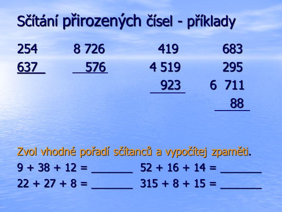 Odčítání přirozených čísel - příklady 2 736 5 254 39 070 327 653 2 736 5 254 39 070 327 653 -1 812 -571 -112 -26 248 Vypočítej.