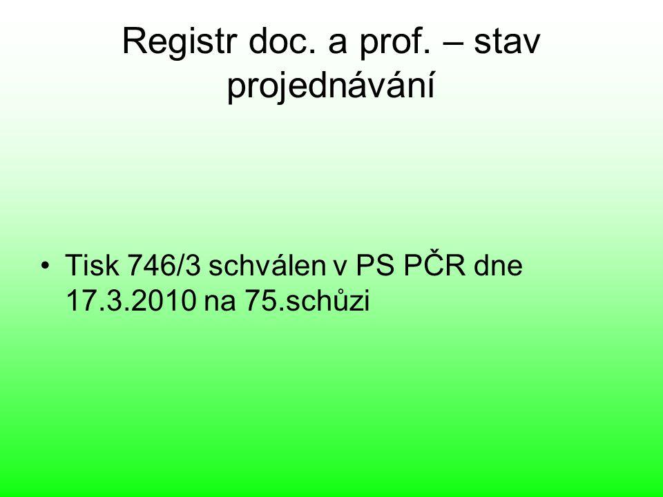 Registr doc. a prof. – stav projednávání Tisk 746/3 schválen v PS PČR dne 17.3.2010 na 75.schůzi