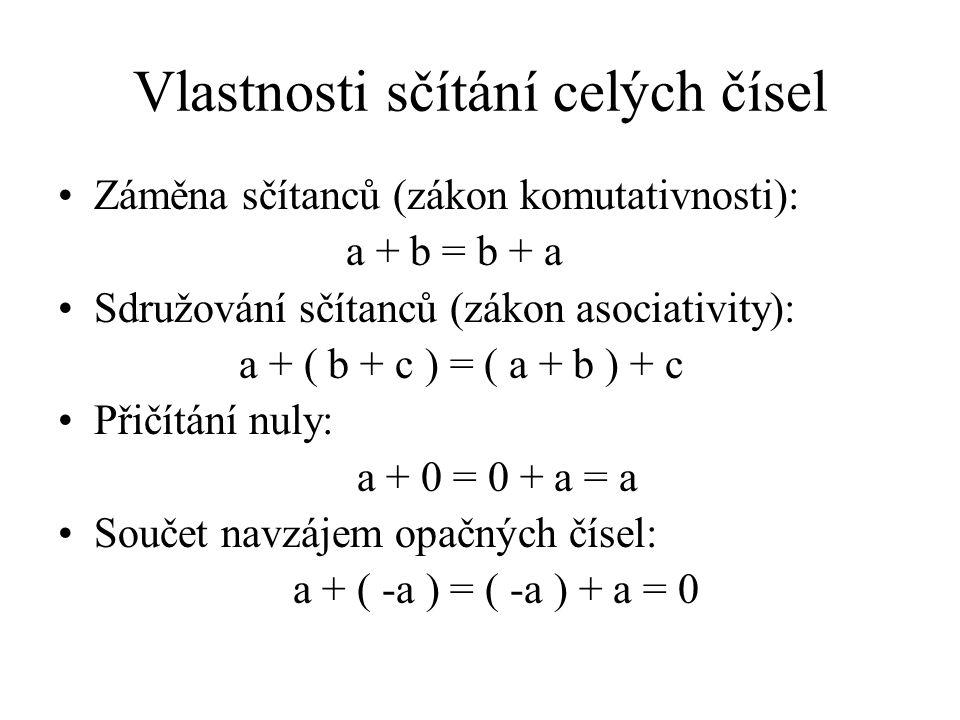 Vlastnosti sčítání celých čísel Záměna sčítanců (zákon komutativnosti): a + b = b + a Sdružování sčítanců (zákon asociativity): a + ( b + c ) = ( a + b ) + c Přičítání nuly: a + 0 = 0 + a = a Součet navzájem opačných čísel: a + ( -a ) = ( -a ) + a = 0