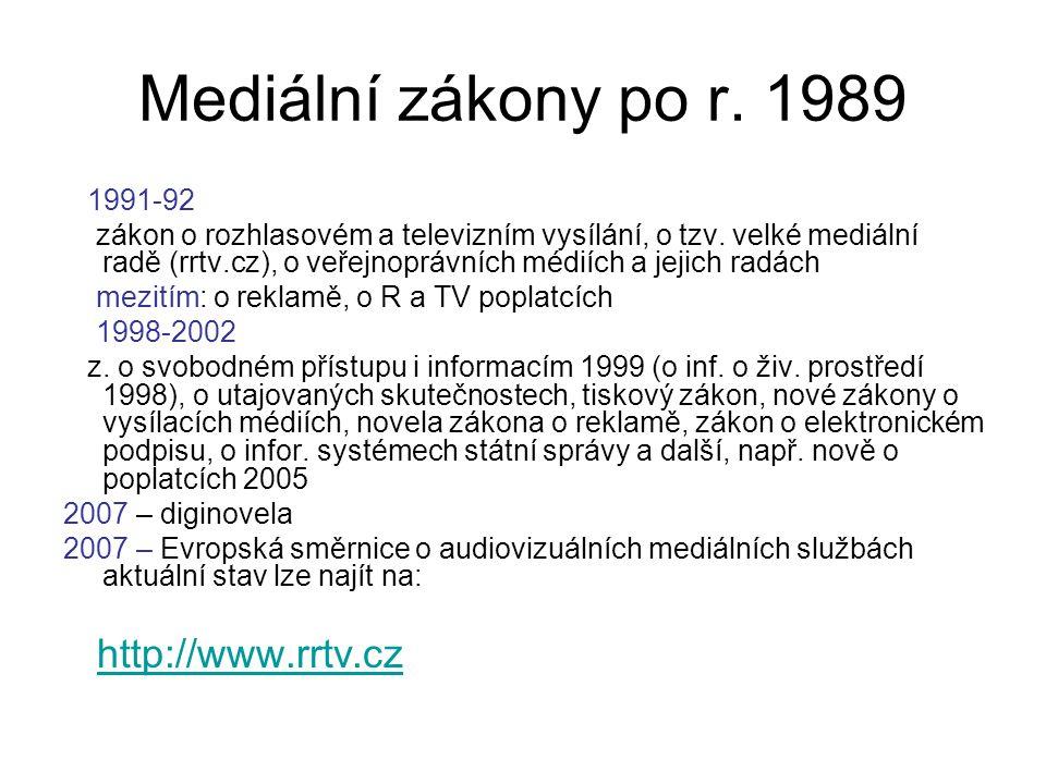 Mediální zákony po r. 1989 1991-92 zákon o rozhlasovém a televizním vysílání, o tzv.