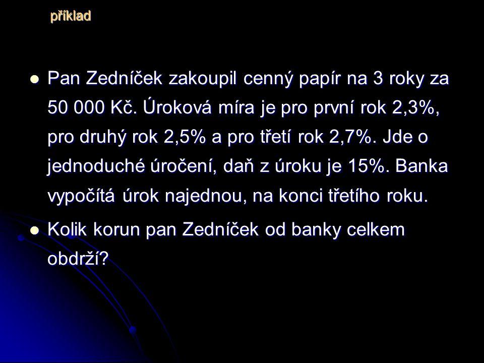 Pan Zedníček zakoupil cenný papír na 3 roky za 50 000 Kč.