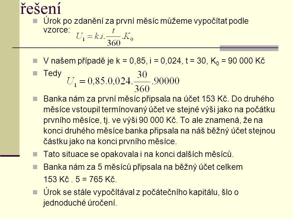 Úrok po zdanění za první měsíc můžeme vypočítat podle vzorce: V našem případě je k = 0,85, i = 0,024, t = 30, K 0 = 90 000 Kč Tedy Banka nám za první měsíc připsala na účet 153 Kč.